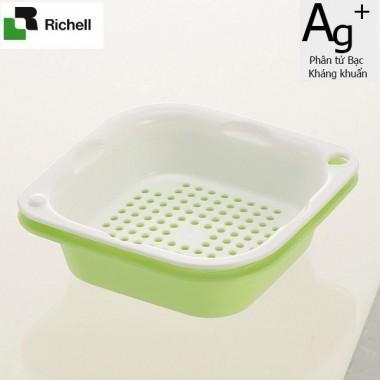 Set 2 khay rổ kháng khuẩn 1.3L Richell (Xanh lá) - Nhật Bản