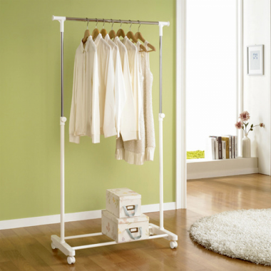 Giá treo quần áo đơn có khay smart di động (trắng) Living star - Hàn Quốc