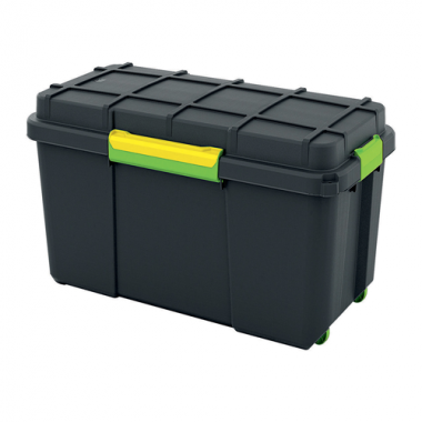 Hộp nhựa chứa đồ Scuba Box L - đen/ khóa vàng KIS - Ý