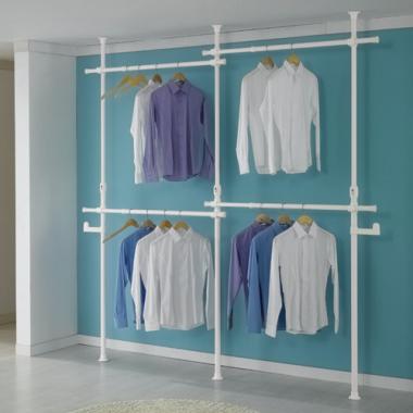 Giá treo quần áo sát trần 2 tầng - 4 ngăn Living star - Hàn Quốc (Trắng)