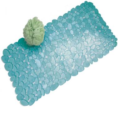 Thảm nhựa nhà tắm hình đá Pebblz (xanh da trời) Interdesign - Mỹ