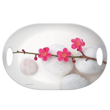 Khay nhựa oval họa tiết hoa đào Nuova - Ý