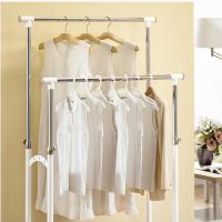 Bộ giá treo quần áo đôi & giỏ để đồ di động (trắng) Living star - Hàn Quốc