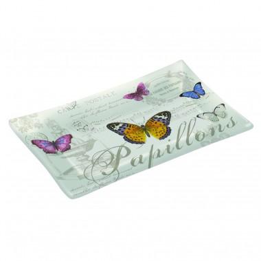 Khay thủy tinh cao cấp họa tiết Butterfly 15,5x9,5cm Nuova - Ý
