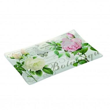 Khay thủy tinh cao cấp họa tiết Rose (2C) 15,5x9,5cm Nuova - Ý
