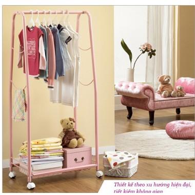 Bộ giá treo quần áo đơn & giỏ để đồ di động (hồng) Living star - Hàn Quốc
