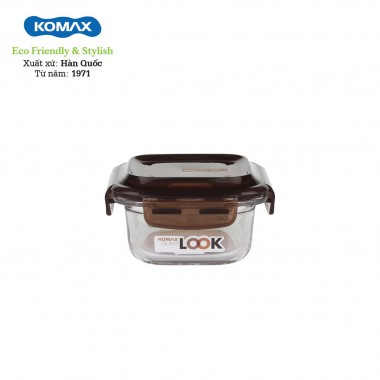 Hộp thủy tinh đựng thực phẩm 210ml Komax (nâu) - Hàn Quốc