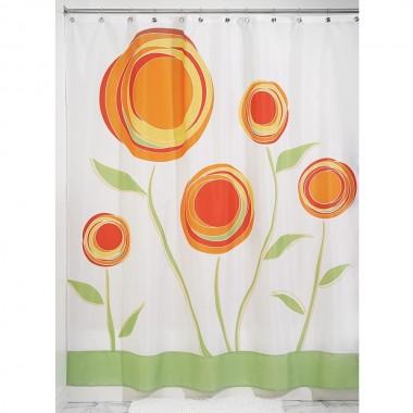 Rèm nhà tắm hình cúc vạn thọ đỏ 180x200cm Interdesign - Mỹ