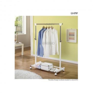 Bộ giá treo quần áo đơn & giỏ để đồ di động (trắng) Living star - Hàn Quốc