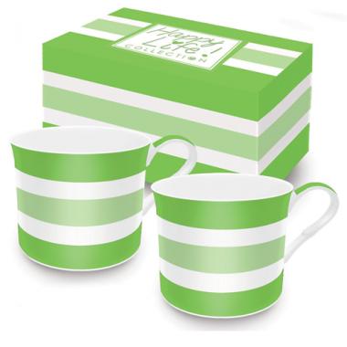 Bộ 02 cốc sứ xương 3 vạch kẻ (Green) Nuova - Ý
