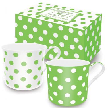 Bộ 02 cốc sứ xương chấm bi (Green) Nuova - Ý