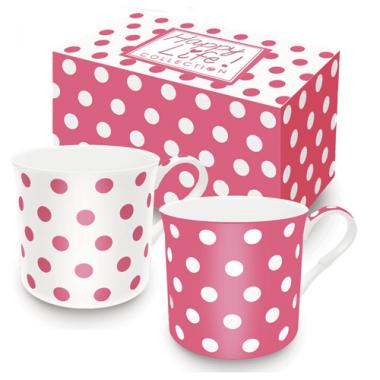 Bộ 02 cốc sứ xương chấm bi (Pink) Nuova - Ý