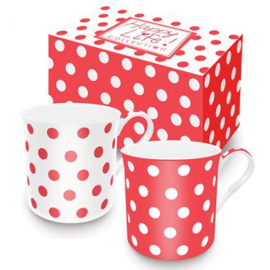 Bộ 02 cốc sứ xương chấm bi (Red) Nuova - Ý