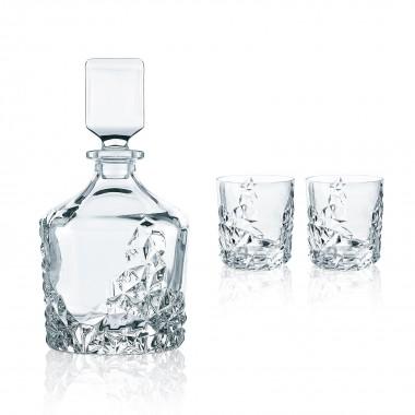 Bộ 1 bình rượu Đk 13cm (750ml) và 2 ly Whisky pha lê ĐK 8.6 cm (365ml) 91900 Sculpture Nachtmann - Đức