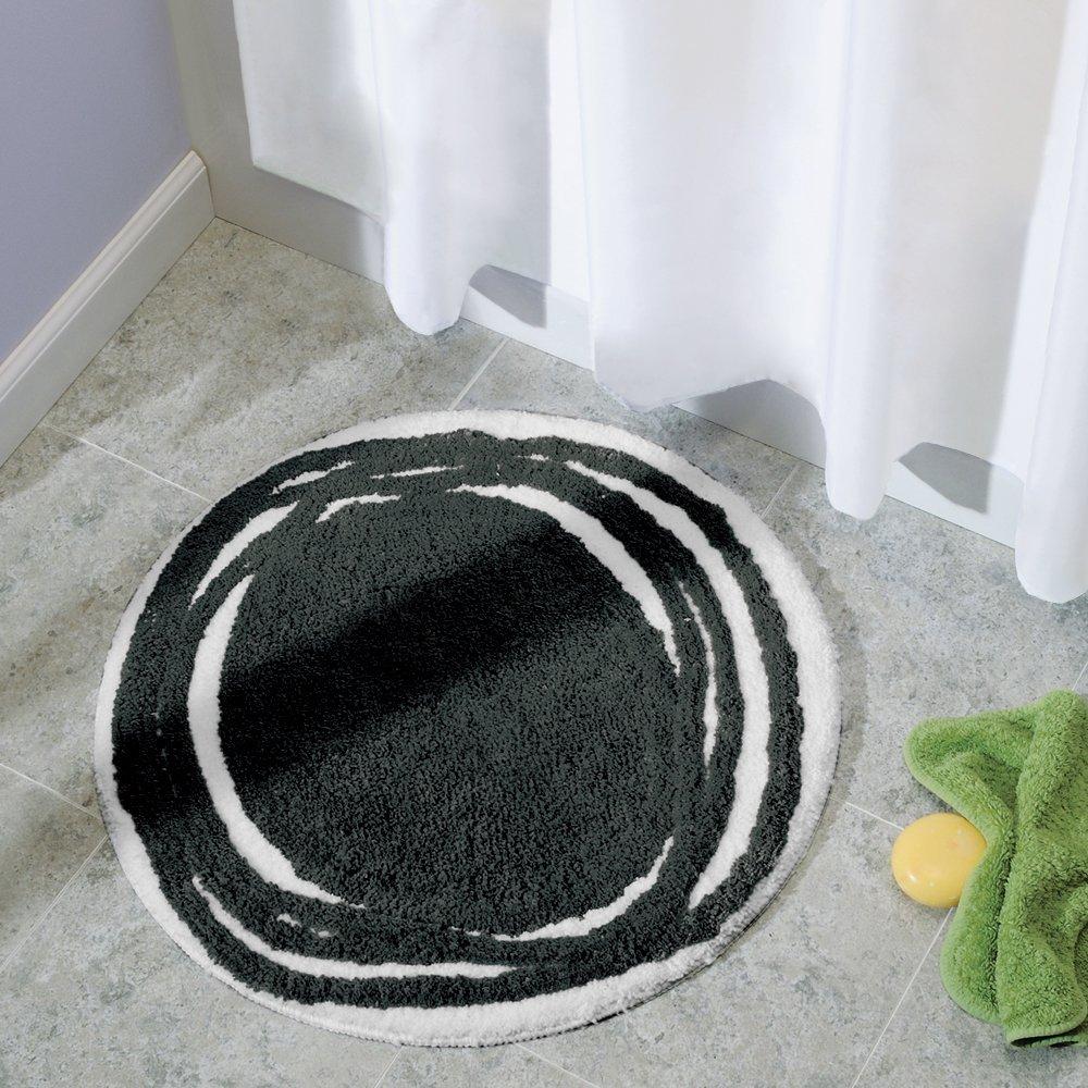 Thảm tròn màu đen Doodle Interdesign làm bằng microfiber tạo cảm giác thoải mái khi sử dụng