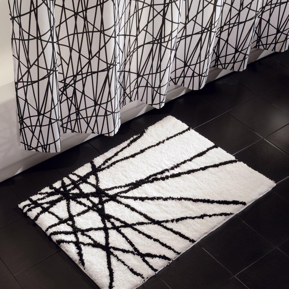 Rèm nhà tắm họa tiết gạch chéo Abstract Interdesign (Blk/W)
