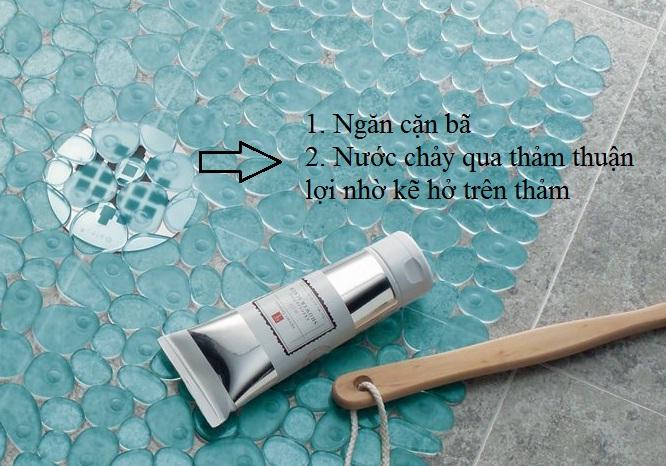 Thảm nhựa nhà tắm hình đá Pebblz Interdesign (Lrg,Grn)