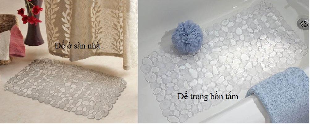 Thảm nhựa nhà tắm hình đá Pebblz Interdesign (Clr)