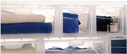 Ngăn chứa đồ trong suốt có thể kéo mở được 2 hướng