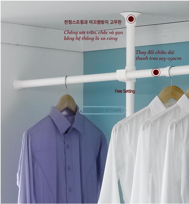 Giá treo quần áo 2 tầng Living star (Trắng)